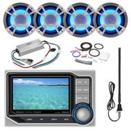 ClarionMarine 21' - 29' Pontoon Boat Audio Package: Audio Digital Media Hideaway Bluetooth Receiver, 4 x 6.5 Coaxial 200 Watt Blue-LED Marine Speakers, 4 Channel Compact Amplifier, Amp Kit, Antenna