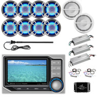 ClarionMarine 36' - 42' Boat Audio Package: Digital Media Hideaway Bluetooth Receiver, 8 x 6.5 200W LED Marine Speakers, 4 Ch Amplifier, 2 x 10 Subwoofer, 1 Ch Amplifier, Splitter, Amp Kit, Antenna