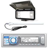 ClarionMarine Audio Single DIN Digital Media Stereo Receiver, Radio Protective Cover, AM/FM Rubber Mast Antenna