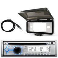 ClarionMarine Audio Single DIN BLUETOOTH/CD/USB/MP3/WMA Bluetooth Stereo Receiver, Radio Protective Cover, AM/FM Antenna