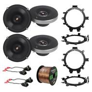 """4x Infinity Primus 6.5"""" 2-Way Speakers, 4x Brackets, 4x Wire Harness, 50 Ft Wire"""
