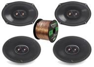 "4x Infinity Primus 6x9"" 3-Way 270-Watt Multi-Element Speakers, 16-G 50 Ft Wire"
