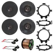 """4x Infinity 6.5"""" 2-Way Speakers, 4x Brackets, 4x Wire Harness, 50 Ft Wire"""