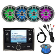 "AM/FM Bluetooth Radio, 4x 8"" Titanium LED Speakers, USB, Antenna , 50 Ft Wire"