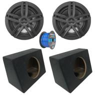 """2x Enrock Marine 2-Way 180-Watts High-Performance 6.5"""" Water-Resistant Speakers (Black), 2x Marine Coated Spray-liner Wedge Enclosure, Enrock 16 Gauge Tinned Speaker Wire"""