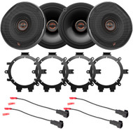"4x Infinity REF Reference Series Shallow-Mount 6.5"" 330 Watt Coaxial Car Speakers, with 4x Enrock Speaker Mounting Brackets, 4x Speaker Wire Harness"