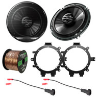 "2x Pioneer TS-G 6.5"" 2-Way Coaxial Car Speakers 300W Max./40W Nominal, with 2x Enrock Speaker Mounting Brackets, 2x Speaker Wire Harness"