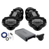 4 x Hertz HMX65S 6.5 inch Powersport Coaxial Speakers (Black), Hertz HCP4M Marine 4-Channel Amplifier, Kicker Weather-Proof Bluetooth Interface Controller, Kicker 8 Gauge Amplifier Installation Kit