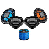 4 x Hertz Audio HMX-6.5SLD 6.5 Marine Coaxial Speakers with RGB LED Lighting Option (Black), Enrock Marine-Grade Spool of 50 Foot 16-Gauge Tinned Speaker Wire