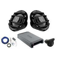 2 x Hertz HMX65S 6.5 inch Powersport Coaxial Speakers (Black), Hertz HCP2MX Stereo Amplifier 2x200W, Kicker Weather-Proof Bluetooth Interface Controller, Kicker 8 Gauge Amplifier Installation Kit