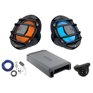 "2 x Hertz Audio HMX65SLD 6.5"" Marine Coaxial Speakers w/ RGB LED Lighting Option (B), Hertz Stereo Amplifier 2x200W, Kicker Weather-Proof Bluetooth Interface Controller, Amplifier Installation Kit"