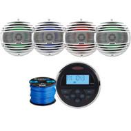 "Jensen MS30BTR Mechless Compact Marine Waterproof Stereo w/ Bluetooth & USB Inputs, 4 x Hertz 6.5"" Coaxial Speakers w/ RGB LED lighting (White), Enrock Marine-Grade 50Ft 16-Gauge Speaker Wire"