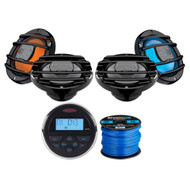 "Jensen MS30BTR Mechless Compact Waterproof Stereo w/ Bluetooth & USB Inputs, 4 x Hertz Audio 6.5"" Marine Coaxial Speakers w/ RGB Lighting (Black), Enrock Marine-Grade 50Ft 16-Gauge Speaker Wire"