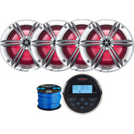 "Jensen MS-30BTR Mechless Compact Waterproof Stereo w/ Bluetooth, 4 x Stinger PowerSports 6.5"" Marine Coaxial Speakers w/ Multi-color RGB Lighting (Silver), Marine-Grade 50 Foot 16-Gauge Speaker Wire"