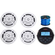 "Jensen MS-30BTR Mechless Compact Waterproof Stereo w/ Bluetooth & USB Inputs, 4 x Hifonics 6.5""Marine 120-Watt 2-Way Speakers w/ Grills (White), Enrock Marine-Grade 50 Foot 16-Gauge Speaker Wire"
