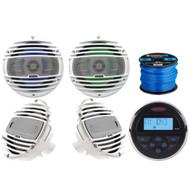 """Jensen MS30BTR Mechless Compact Marine Waterproof Stereo w/ Bluetooth, 2 x Hertz 6.5"""" Coaxial Speakers w/ RGB lighting (W), 2 x Hertz 6.5"""" 2-Way Speakers (W), Marine-Grade 50Ft 16-Gauge Speaker Wire"""