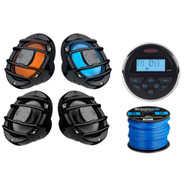 "Jensen MS30BTR Mechless Compact Waterproof Stereo w/ Bluetooth, 2 x Hertz Audio 6.5"" Marine Coaxial Speakers w/ RGB Lighting (B), 2 x Hertz 6.5"" Powersport Speakers (B), 50Ft 16-Gauge Speaker Wire"
