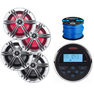 """Jensen Mechless Compact Waterproof Stereo w/ Bluetooth, 2 x Stinger PowerSports 6.5"""" Marine Coaxial Speakers w/ RGB Lighting (Silver), 2 x Stinger 6.5"""" Coaxial Speakers (Silver), 50 Ft Speaker Wire"""