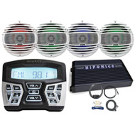 "Hifonics TPSMR1 Marine and Powersports Bluetooth Gauge Mount Radio, 4 x Hertz 6.5"" Coaxial Speakers w/ RGB lighting (W), Hifonics Thor Marine 4-Channel Amplifier, Amp Installation Kit w/ RCA Cables"