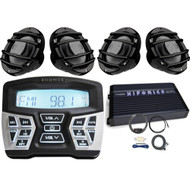 "Hifonics TPSMR1 Marine and Powersports Bluetooth Gauge Mount Radio,  4 x Hertz HMX65S 6.5"" Powersport Coaxial Speakers (Black), Hifonics Thor 4-Channel Amplifier, Amp Installation Kit w/ RCA Cables"