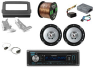 "CD Bluetooth Radio + Dash Kit + Controls, 2x 6.5"" Speakers + Harness, 50 Ft Wire"