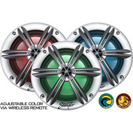 "Stinger PowerSports 6.5"" Marine Boat Coaxial Speakers Silver (Pair) with Built-in Multi-color RGB Lighting"