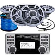"Clarion CMD8 Marine Boat Yacht Audio CD/MP3 Stereo Receiver, 4 x Clarion 8.8"" 2-Way Marine Audio Speakers, Radio Antenna (Black), Marine-Grade 50Ft. 16 Gauge Speaker Wire"