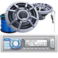 "Clarion M205 Marine Audio Single-DIN Stereo Receiver, 2 x Clarion 8.8"" 2-Way Marine Audio Speakers, Radio Antenna (White), Marine-Grade 50Ft. 16 Gauge Speaker Wire"