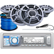 "Clarion M205 Marine Audio Single-DIN AUX/USB Stereo Receiver, 4 x Clarion 8.8"" 2-Way Marine Audio Speakers, Radio Antenna (White), Marine-Grade 50Ft. 16 Gauge Speaker Wire"