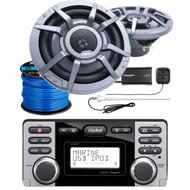 "Clarion CMD8 Marine Audio CD Stereo Receiver, 2 x CM2223R 8.8"" 2-Way Marine Audio Speakers, SiriusXM Satellite Radio Connect Vehicle Tuner Kit, Radio Antenna (White), Marine-Grade 50Ft. Speaker Wire"