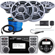 "Clarion CMD8 Marine Audio CD Stereo Receiver, 4 x CM2223R 8.8"" 2-Way Marine Audio Speaker,  Satellite Radio Connect Vehicle Tuner Kit, Antenna (White), Speaker Wire, Remote Control, Extension Cable"