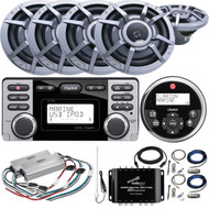 "Clarion CMD8 Marine Audio CD Stereo Receiver, 8 x 8.8"" 2-Way Marine Speakers, 2 x 4-Channel Class D Amps, Signal Splitter Amp, Antenna, 2 x Amp Installation Kits, Remote Control, Extension Cable"