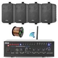 "Pyle WiFi Bluetooth Stereo Amplifier 240-Watt Home Theatre Receiver, 2x Enrock 4"" 200-Watt 3-Way Box Speakers (Black), Enrock Audio Spool of 50 Foot 16-Gauge Speaker Wire"