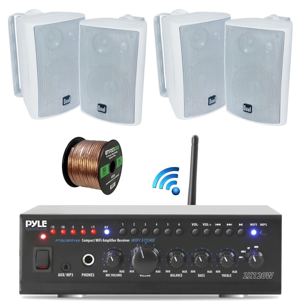 Pyle PTAUWIFI46 WiFi Bluetooth Stereo Amplifier 240-Watt Home ...