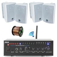 "Pyle WiFi Bluetooth Stereo Amplifier 240-Watt Home Theatre Receiver, Dual Electronics 4"" 3-Way Bookshelf Studio Monitor Speaker (White), Enrock Audio Spool of 50 Foot 16-Gauge Speaker Wire"