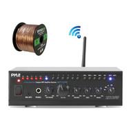 Pyle PTAUWIFI46 WiFi Bluetooth Stereo Amplifier 240-Watt Home Theatre Receiver,  Enrock Audio Spool of 50 Foot 16-Gauge Speaker Wire