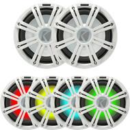 "2 Kicker 45KM104 10"" Weather-Proof Subwoofers - 2 Kicker 45KMG10W 10"" LED Grilles (White)"