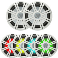 "2 Kicker 45KM104 10"" Weather-Proof Subwoofers - 2 Kicker 45KMG10W 10"" LED Grilles (White)"