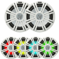 """2 Kicker 45KMF124 12"""" Weather-Proof Subwoofers for Freeair Applications - 2 Kicker 45KMG12W 12"""" LED Grille (White)"""