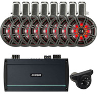 "8 Kicker 45KMTC65 6.5"" Marine Coaxial Tower Speaker Systems (C) - Kicker KXMA800.8 Full-Range Class D 8-Channel Amplifier - 43PXBTC Weather-Proof Bluetooth Interface Controller"