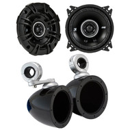 "Kicker 43DSC44 D-Series 4-Inch 120 Watt 2-Way Coaxial Speakers with Kicker Kicker 40KMMTES 4"" Mini Tower Enclosure - Pair"