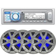 "Clarion M205 Marine Audio Single DIN Receiver - 4 x Searonics SEA65LC 6.5"" Dual Full-Range Marine Blue Lit LED Speakers (Charcoal)"