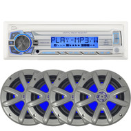 """Dual Marine Mechless Single DIN In-Dash Stereo AM/FM Receiver w/ Remote - 4 x Searonics SEA65LC 6.5"""" Dual Full-Range Marine Blue Lit LED Speakers (Charcoal)"""