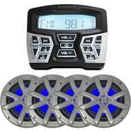 "Hilfonics TPS-MR1 Marine/Powersports Bluetooth AM/FM Gauge Mount Radio - 4 x Searonics SEA65LC 6.5"" Dual Full-Range Marine Blue Lit LED Speakers (Charcoal)"