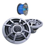 """Clarion 8.8"""" 2-Way 200 Watt Marine Audio Water Resistant Speakers - Gray (Pair), Enrock Marine Grade Spool of 50 Foot 16-Gauge Tinned Speaker Wire"""