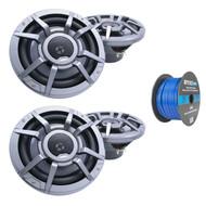 """Clarion 8.8"""" 2-Way 200 Watt Marine Audio Water Resistant Speakers - Gray (2 Pairs), Enrock Marine Grade Spool of 50 Foot 16-Gauge Tinned Speaker Wire"""