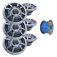"""Clarion 8.8"""" 2-Way 200 Watt Marine Audio Water Resistant Speakers - Gray (3 Pairs), Enrock Marine Grade Spool of 50 Foot 16-Gauge Tinned Speaker Wire"""