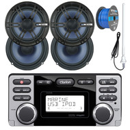 """Clarion Marine Audio CD USB MP3 Watertight Stereo Receiver, 4x Enrock Audio 6.5"""" 2- Way Marine Coaxial Car Boat Audio Stereo Speakers, Enrock 50Ft 16-Gauge Tinned Speaker Wire, AM/FM Antenna"""