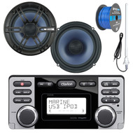 """Clarion Marine Audio CD USB MP3 Watertight Stereo Receiver, 2x Enrock Audio 6.5"""" 2- Way Marine Coaxial Car Boat Audio Stereo Speakers, Enrock 50Ft 16-Gauge Tinned Speaker Wire, AM/FM Antenna"""