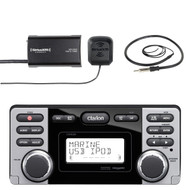 "Clarion Marine Audio CD USB MP3 Watertight Stereo Receiver, SiriusXM Satellite Radio Vehicle Tuner Kit, Enrock EKMR1 Marine Audio Universal Wired AM/FM Radio Antenna - 22"" Braided Cable"